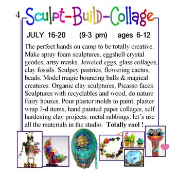 The perfect hands on camp to be totally creative. Make spray foam sculptures, eggshell crystal geodes, artsy masks. Jeweled eggs and so much more