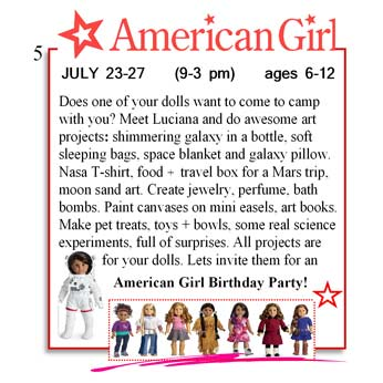 Does one of your dolls want to come to camp with you? Meet Luciana and do awesome art projects.