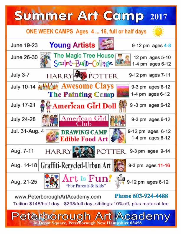 peterborough art camp schedule - 10 week-long camps in morning or afternoon